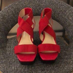 Calvin Klein Red Elastic Wedge Sandal